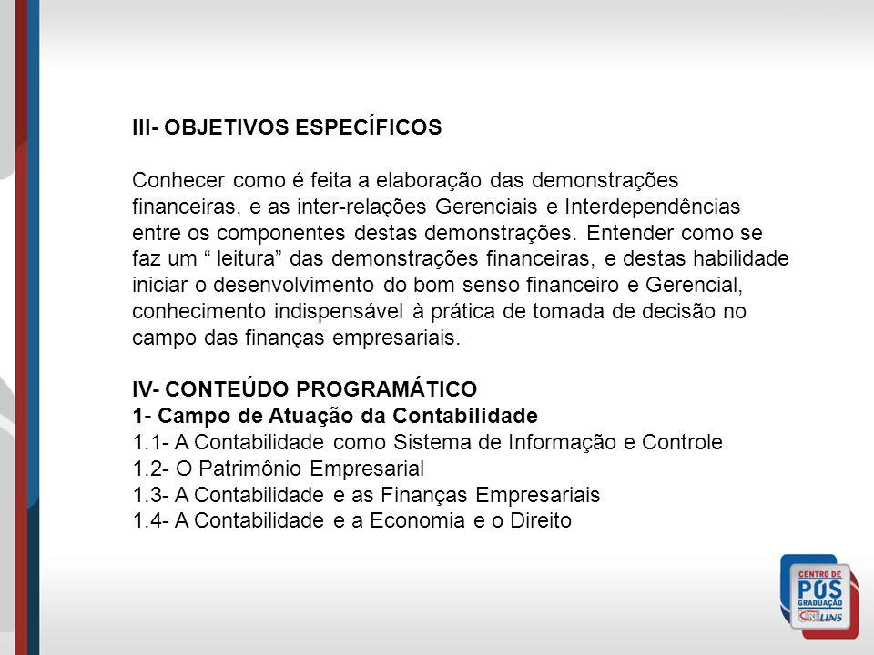 III- OBJETIVOS ESPECÍFICOS