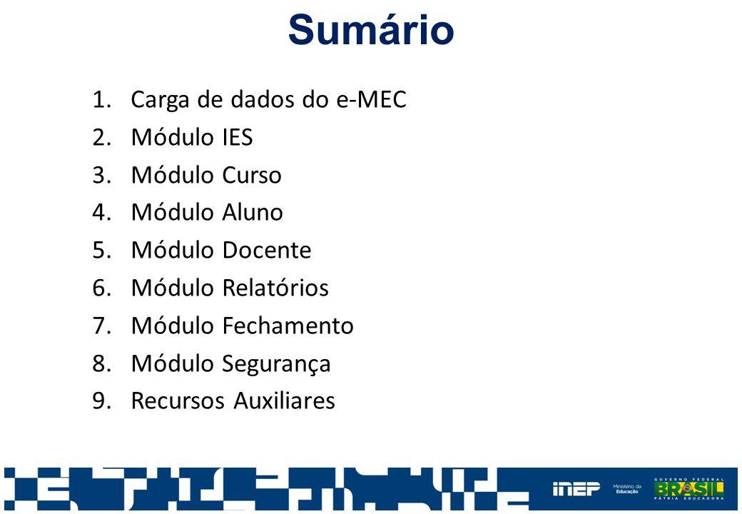 Sumário Carga de dados do e-MEC Módulo IES Módulo Curso Módulo Aluno