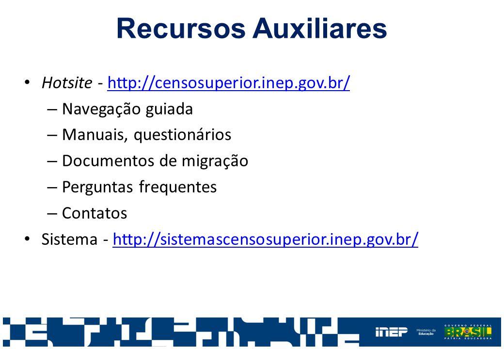 Recursos Auxiliares Hotsite - http://censosuperior.inep.gov.br/