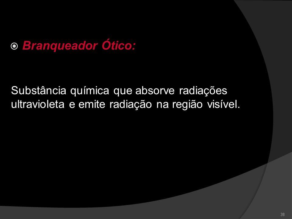 Branqueador Ótico: Substância química que absorve radiações ultravioleta e emite radiação na região visível.