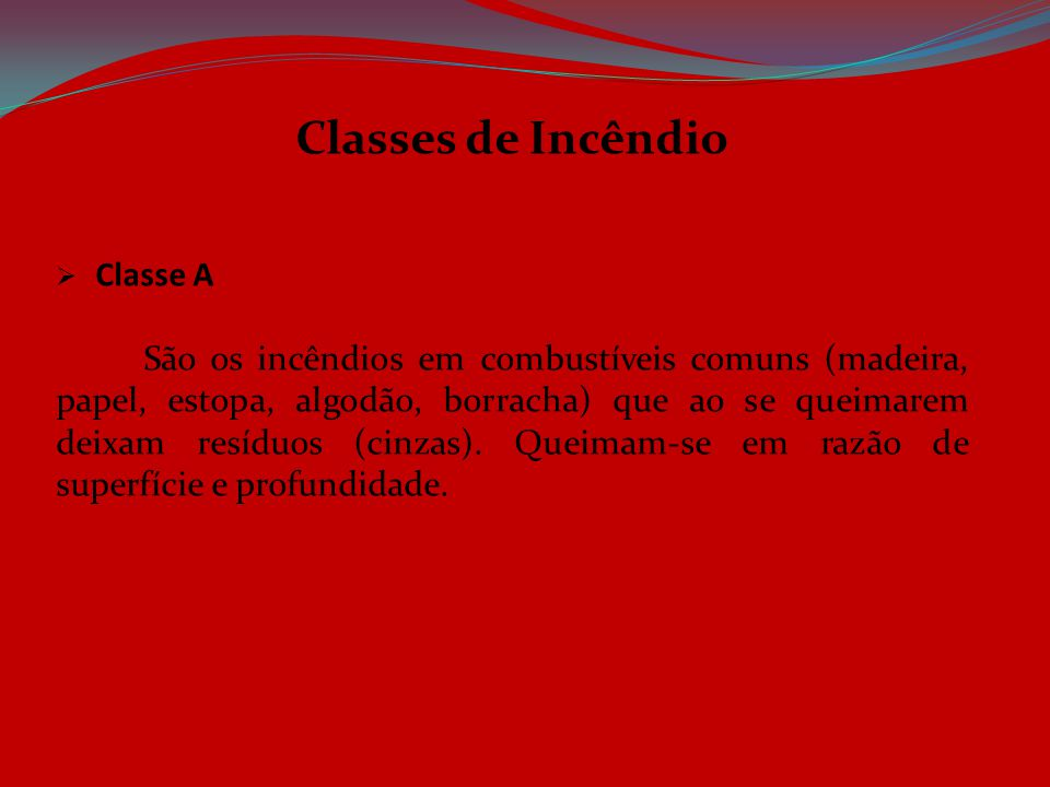 Classes de Incêndio Classe A.