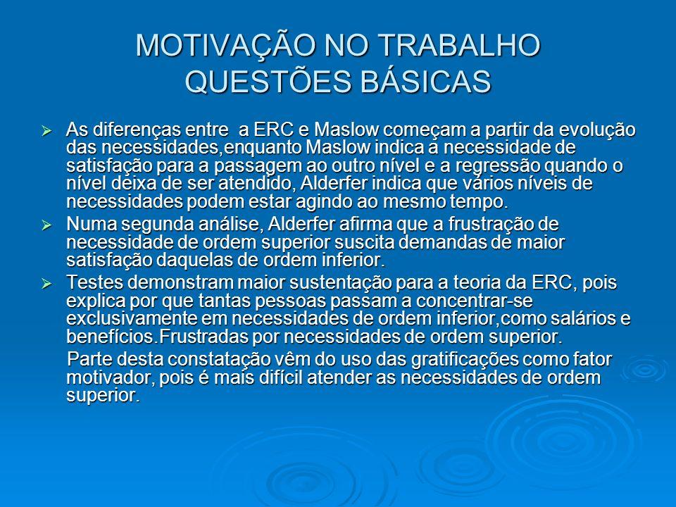 MOTIVAÇÃO NO TRABALHO QUESTÕES BÁSICAS