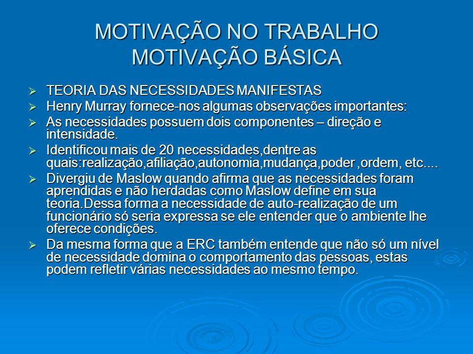 MOTIVAÇÃO NO TRABALHO MOTIVAÇÃO BÁSICA