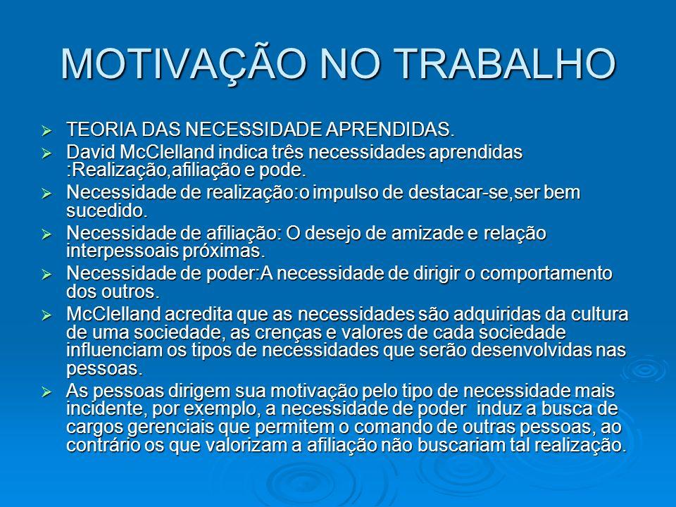 MOTIVAÇÃO NO TRABALHO TEORIA DAS NECESSIDADE APRENDIDAS.