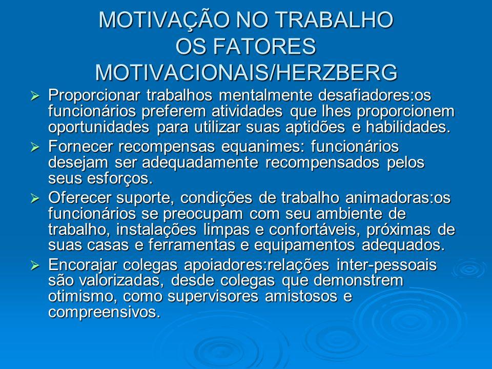 MOTIVAÇÃO NO TRABALHO OS FATORES MOTIVACIONAIS/HERZBERG