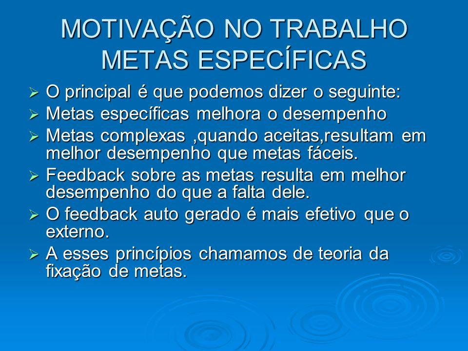 MOTIVAÇÃO NO TRABALHO METAS ESPECÍFICAS