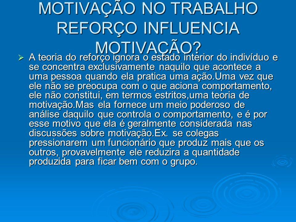 MOTIVAÇÃO NO TRABALHO REFORÇO INFLUENCIA MOTIVAÇÃO