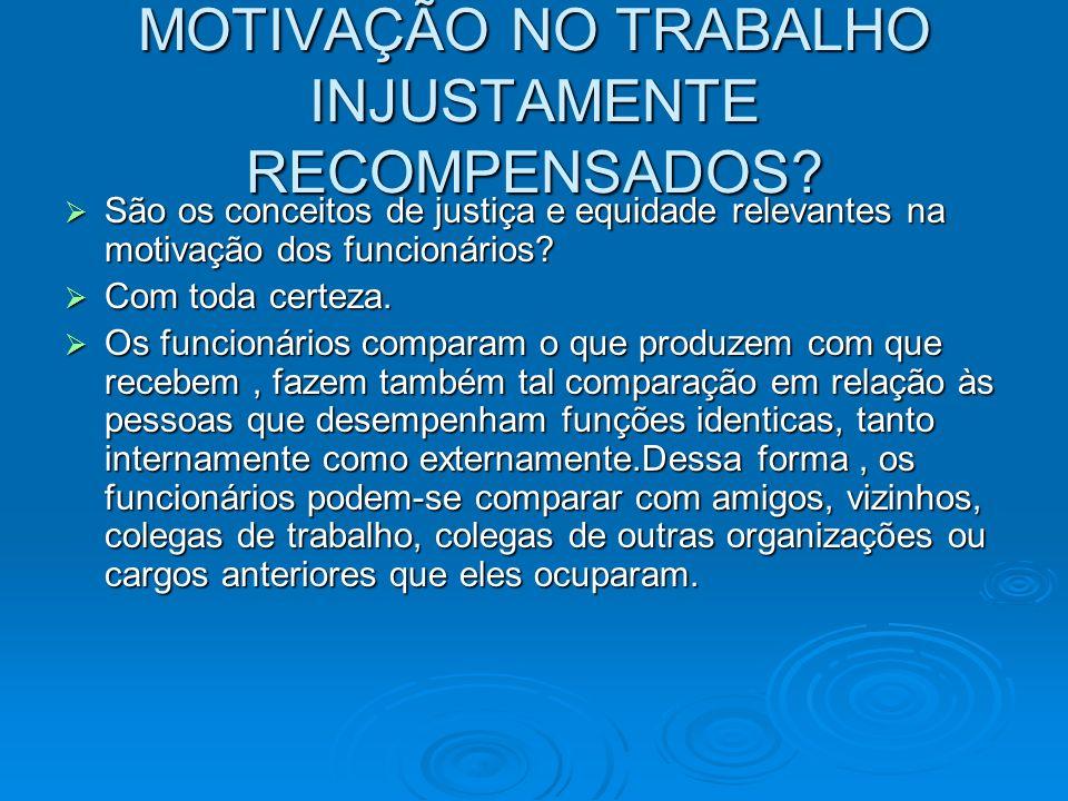 MOTIVAÇÃO NO TRABALHO INJUSTAMENTE RECOMPENSADOS