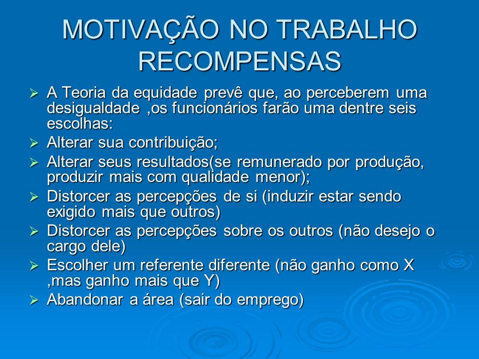 MOTIVAÇÃO NO TRABALHO RECOMPENSAS