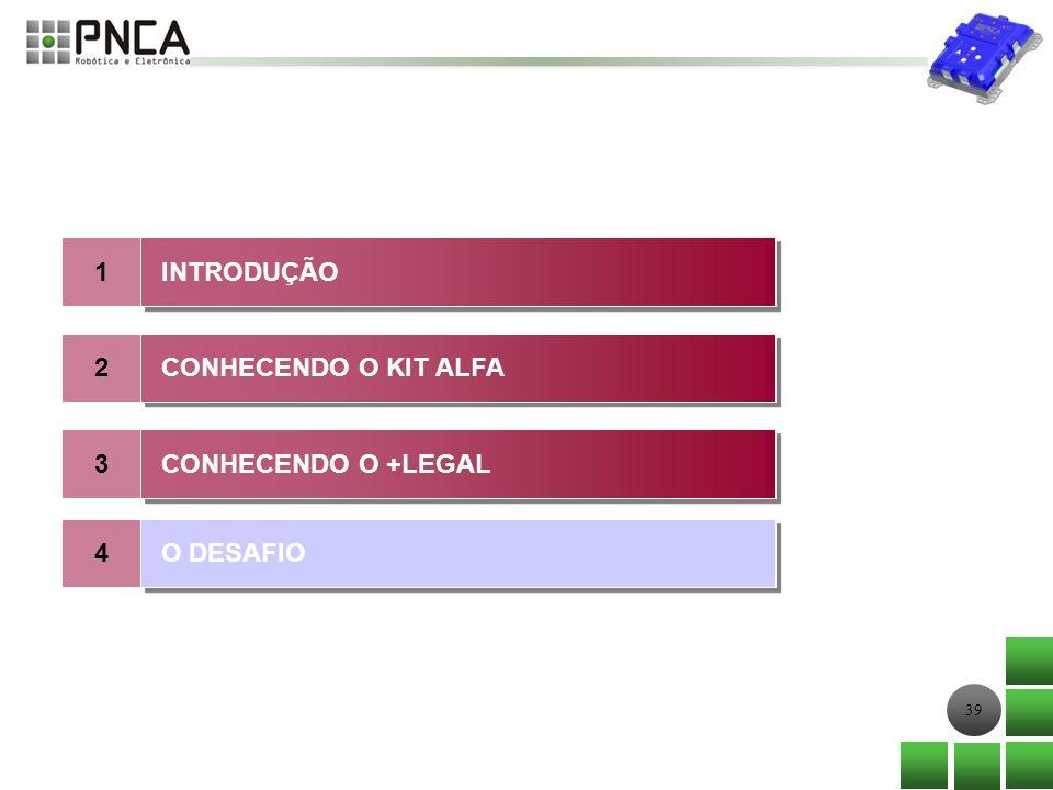 1 INTRODUÇÃO 2 CONHECENDO O KIT ALFA 3 CONHECENDO O +LEGAL 4 O DESAFIO