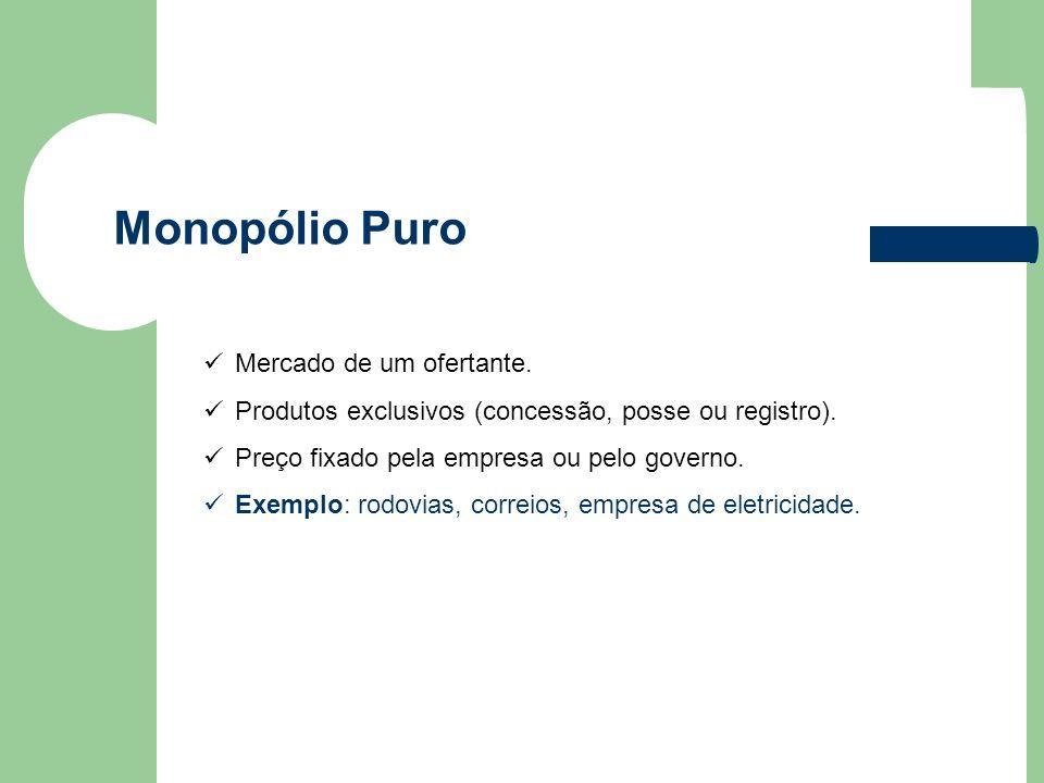 Monopólio Puro Mercado de um ofertante.
