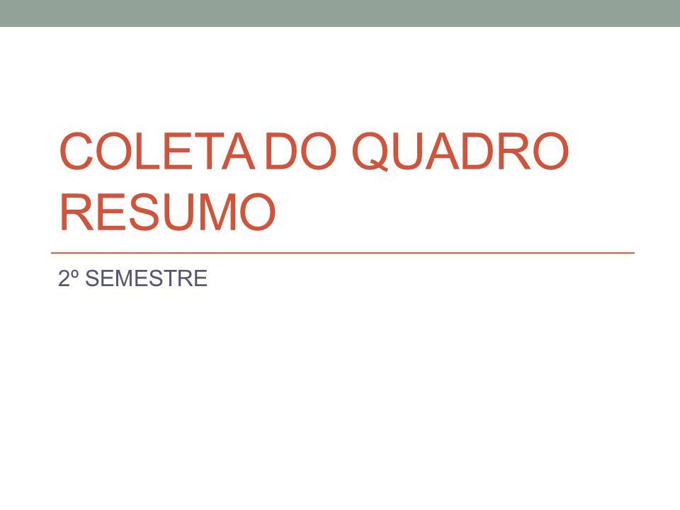 COLETA DO QUADRO RESUMO