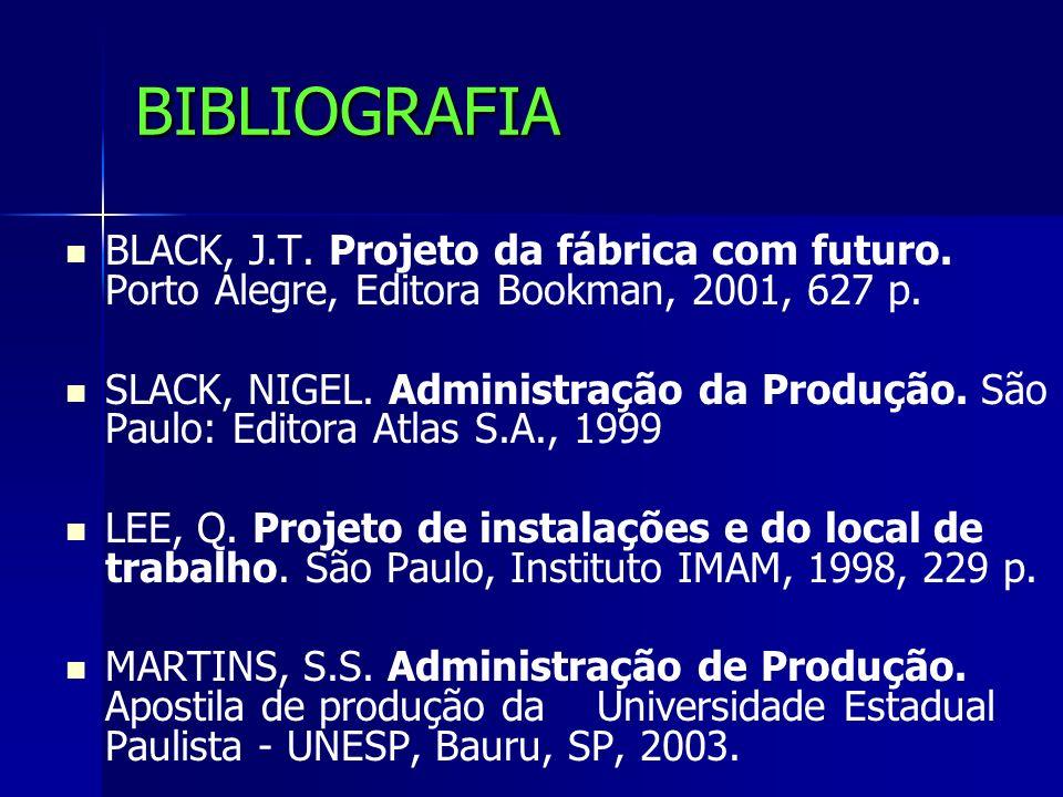 BIBLIOGRAFIA BLACK, J.T. Projeto da fábrica com futuro. Porto Alegre, Editora Bookman, 2001, 627 p.