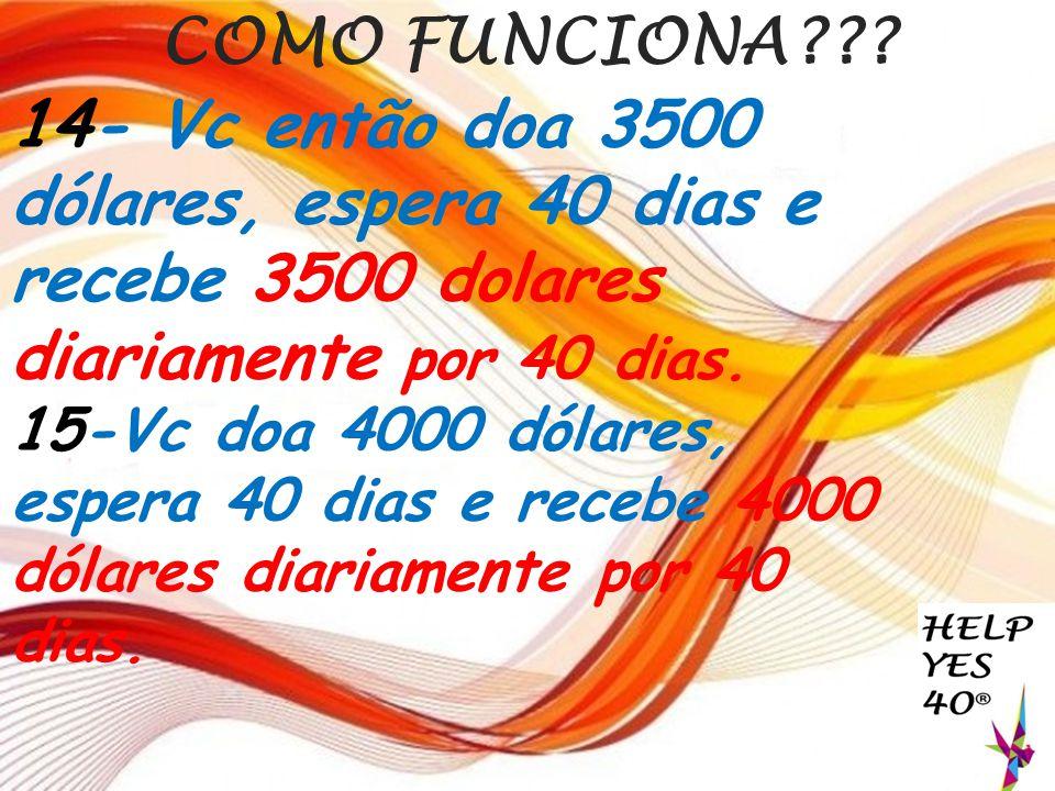 COMO FUNCIONA 14- Vc então doa 3500 dólares, espera 40 dias e recebe 3500 dolares diariamente por 40 dias.