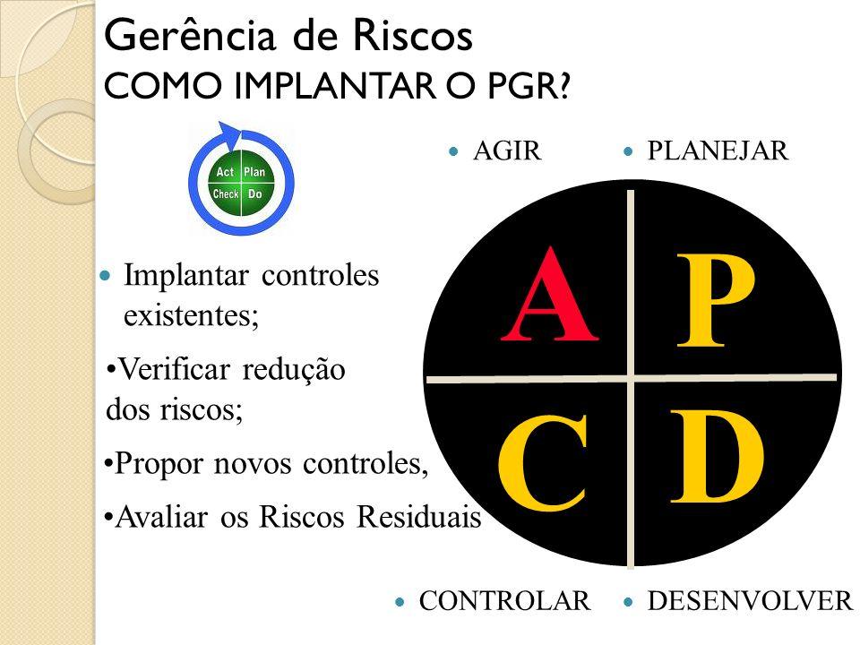 A P D C Gerência de Riscos COMO IMPLANTAR O PGR