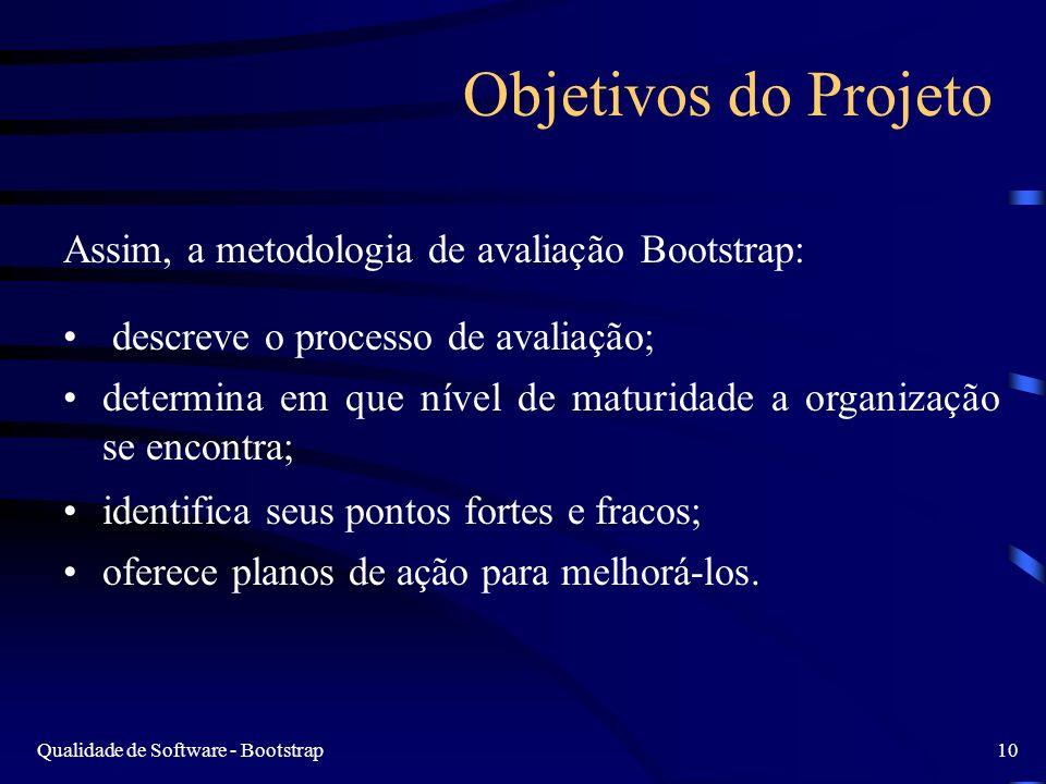 Objetivos do Projeto Assim, a metodologia de avaliação Bootstrap: