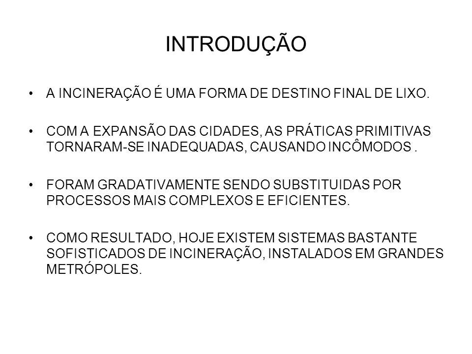 INTRODUÇÃO A INCINERAÇÃO É UMA FORMA DE DESTINO FINAL DE LIXO.