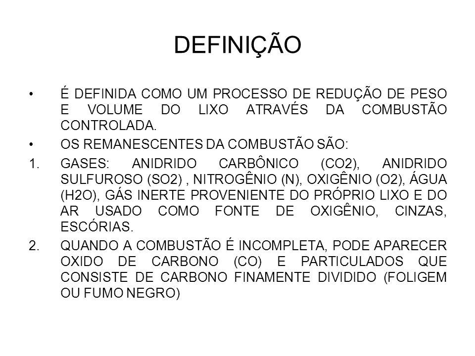 DEFINIÇÃO É DEFINIDA COMO UM PROCESSO DE REDUÇÃO DE PESO E VOLUME DO LIXO ATRAVÉS DA COMBUSTÃO CONTROLADA.