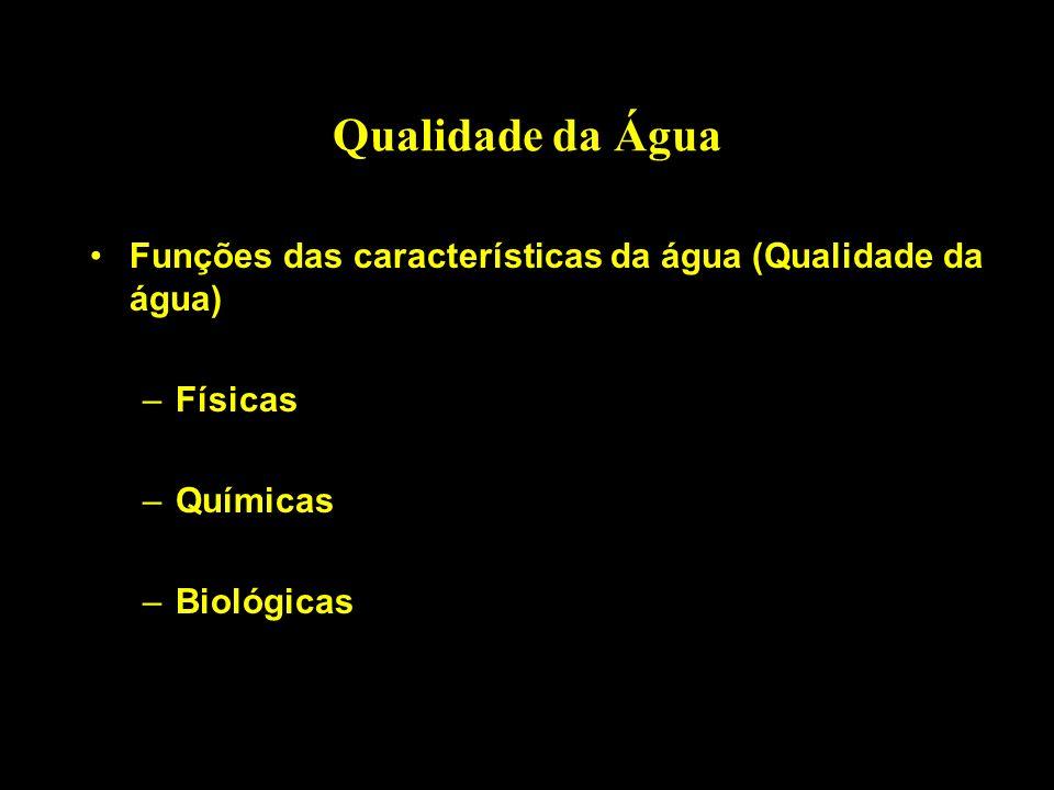 Qualidade da Água Funções das características da água (Qualidade da água) Físicas.