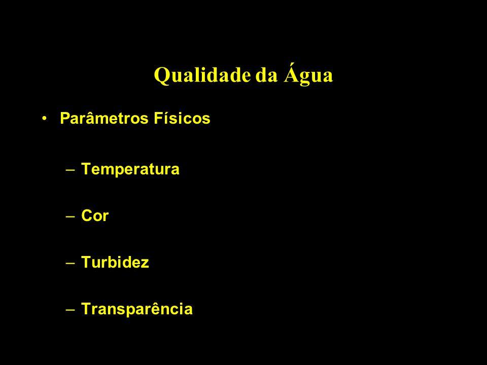 Qualidade da Água Parâmetros Físicos Temperatura Cor Turbidez