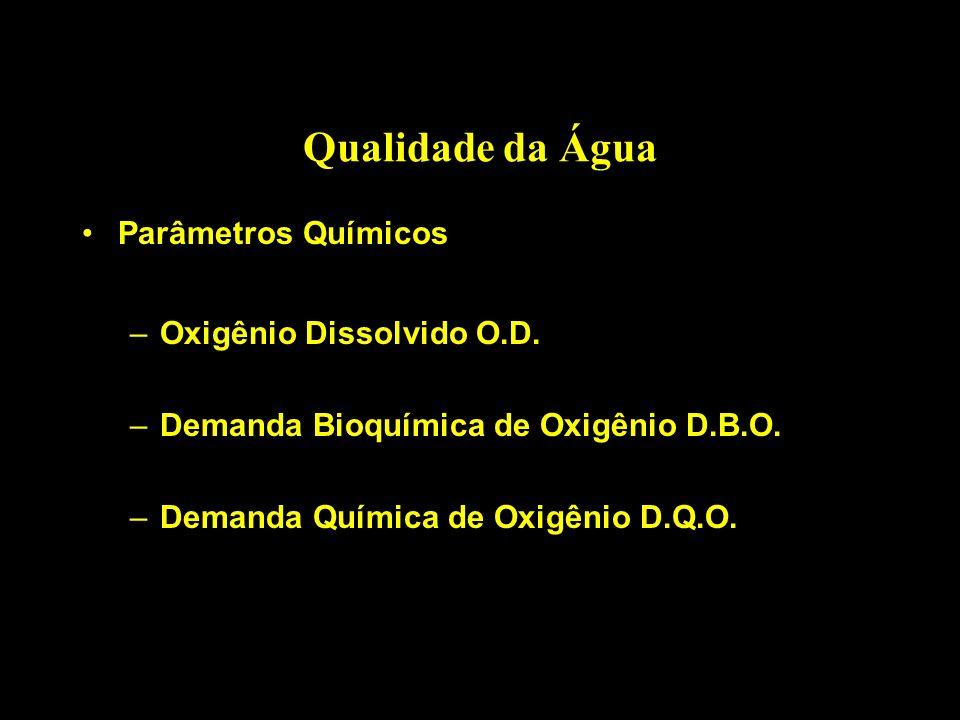 Qualidade da Água Parâmetros Químicos Oxigênio Dissolvido O.D.