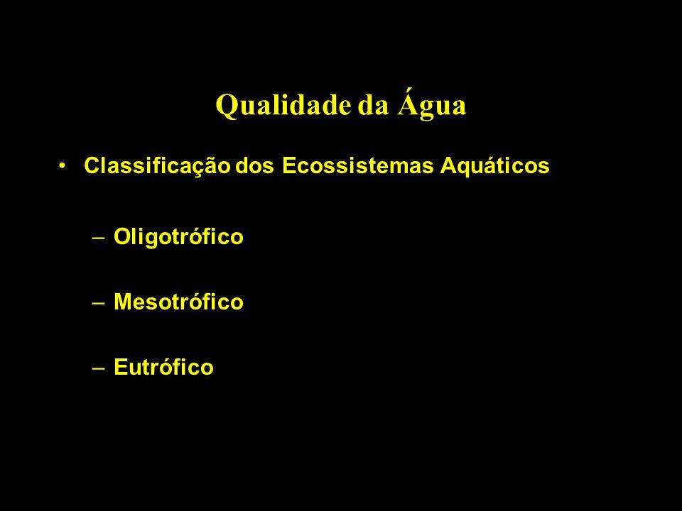 Qualidade da Água Classificação dos Ecossistemas Aquáticos