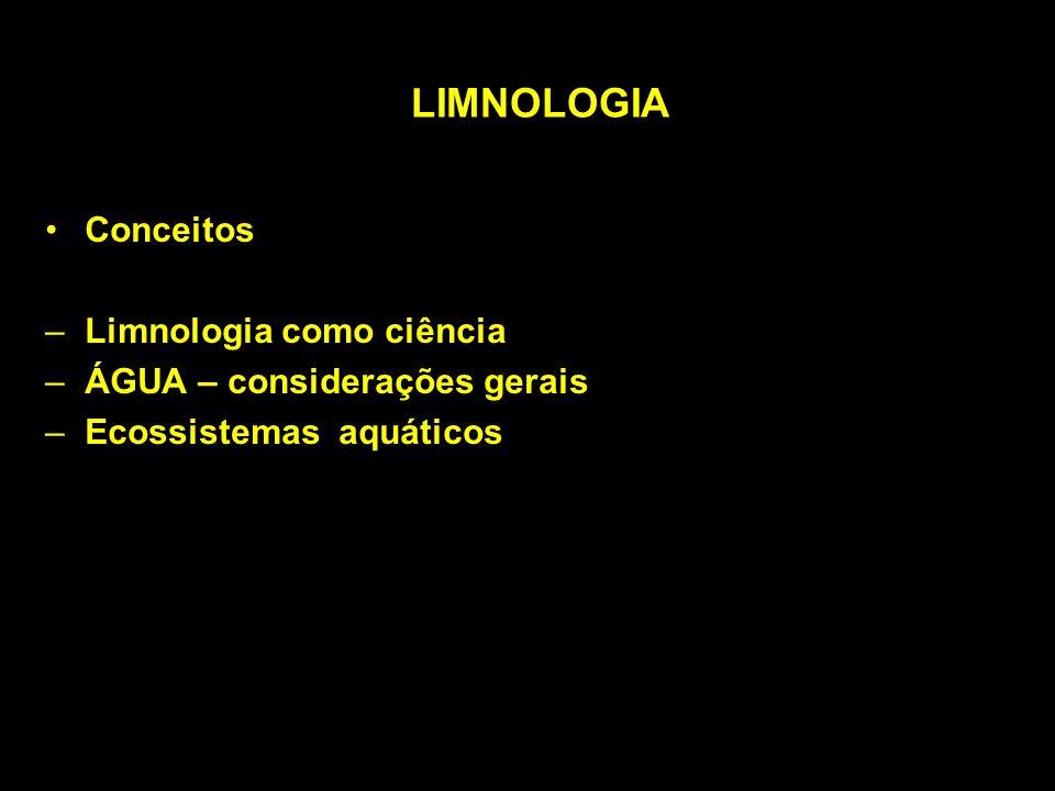 LIMNOLOGIA Conceitos Limnologia como ciência