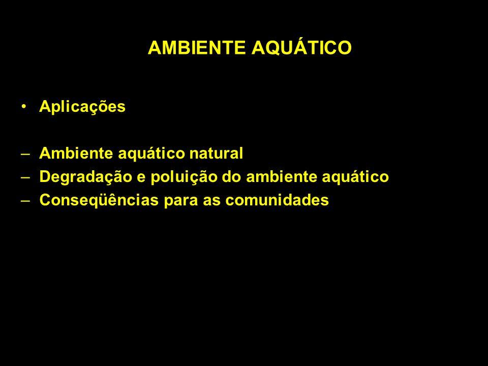 AMBIENTE AQUÁTICO Aplicações Ambiente aquático natural