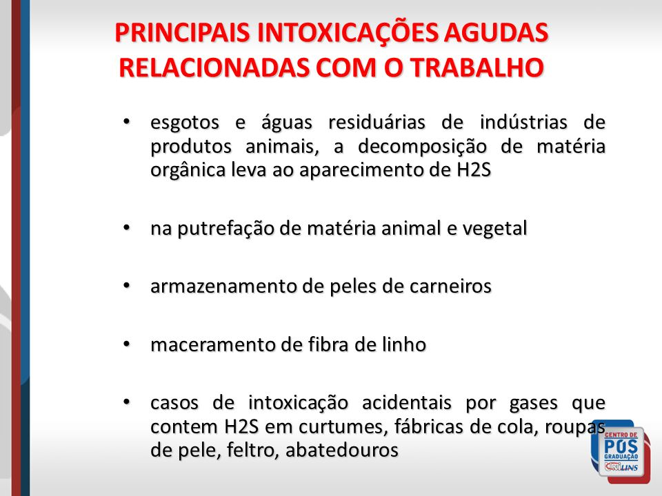 PRINCIPAIS INTOXICAÇÕES AGUDAS RELACIONADAS COM O TRABALHO