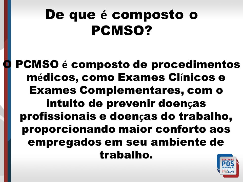 De que é composto o PCMSO