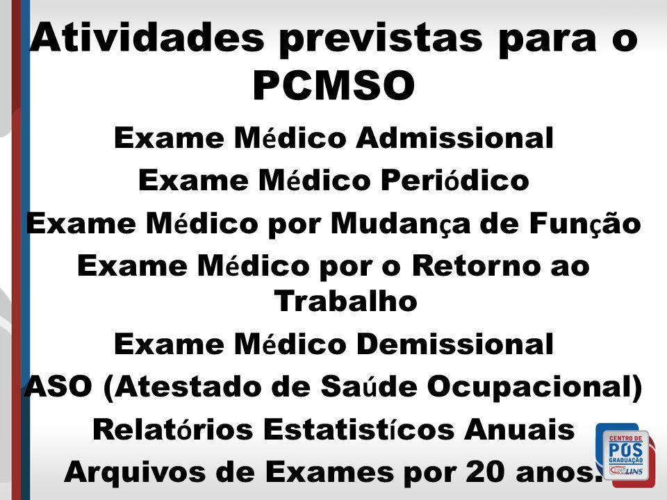 Atividades previstas para o PCMSO