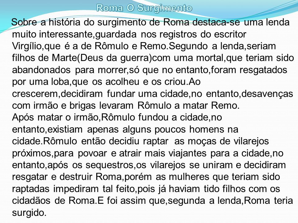 Roma O Surgimento