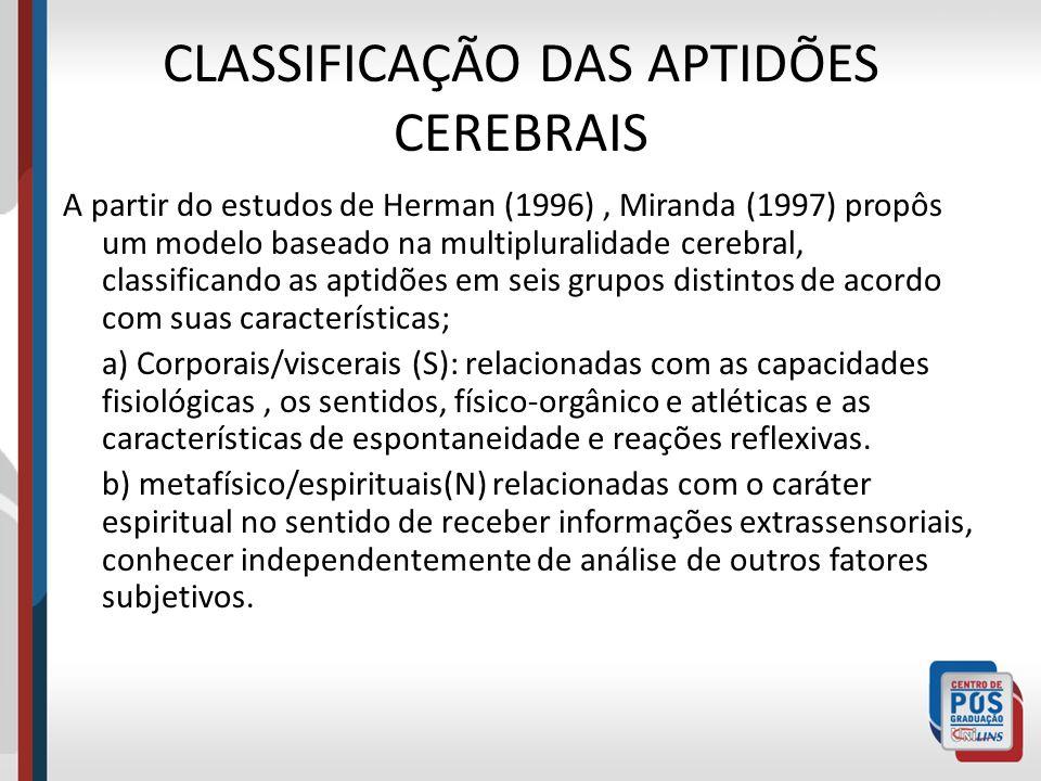 CLASSIFICAÇÃO DAS APTIDÕES CEREBRAIS