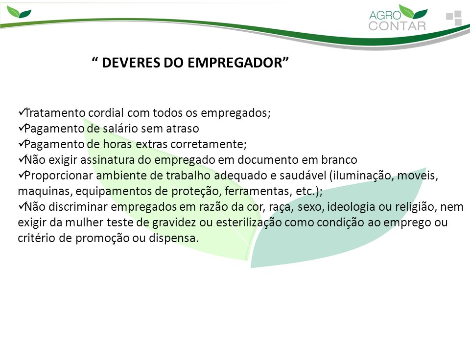 DEVERES DO EMPREGADOR