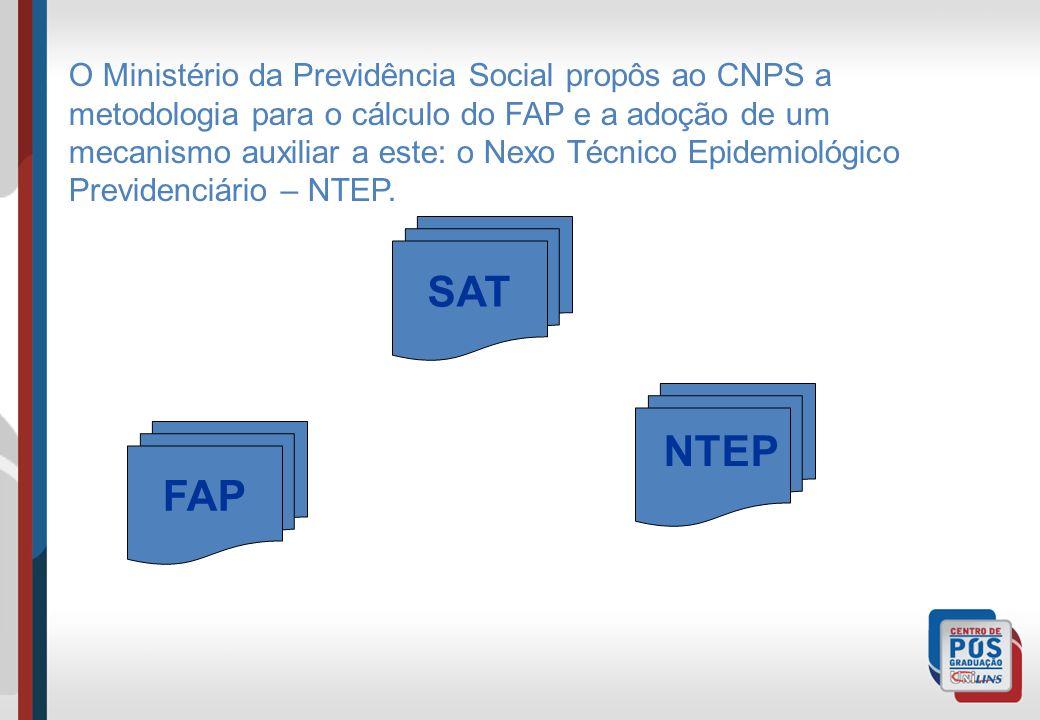 O Ministério da Previdência Social propôs ao CNPS a metodologia para o cálculo do FAP e a adoção de um mecanismo auxiliar a este: o Nexo Técnico Epidemiológico Previdenciário – NTEP.
