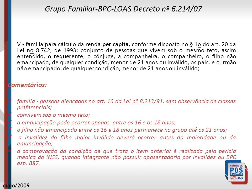 Grupo Familiar-BPC-LOAS Decreto nº 6.214/07