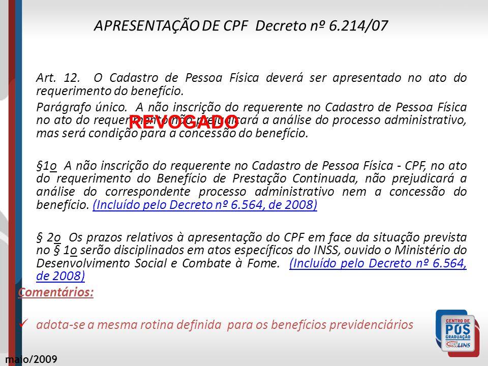 APRESENTAÇÃO DE CPF Decreto nº 6.214/07