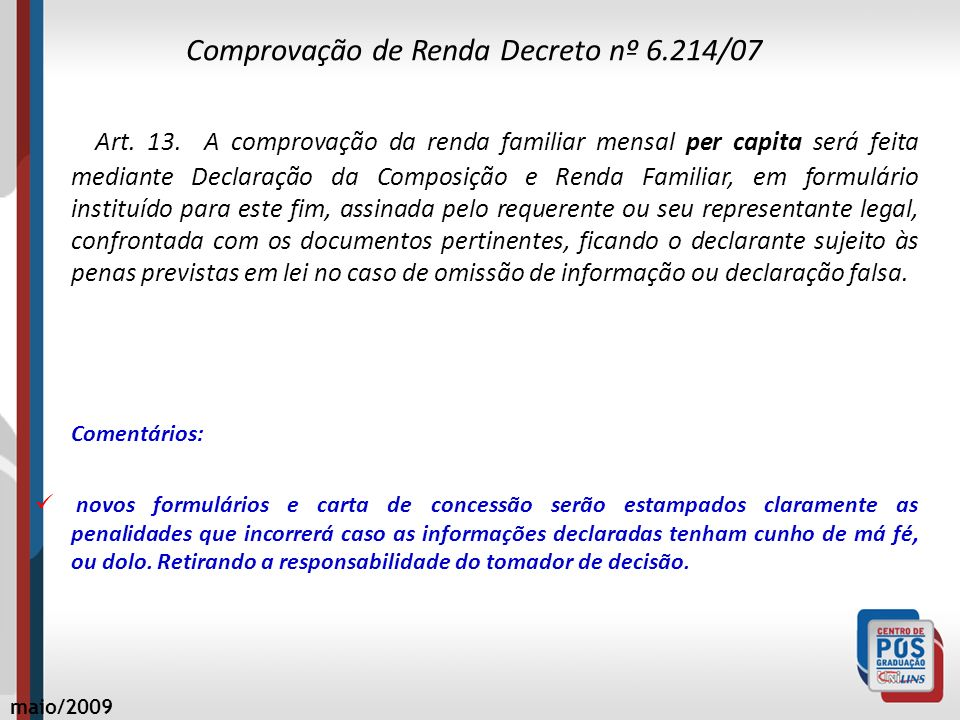 Comprovação de Renda Decreto nº 6.214/07