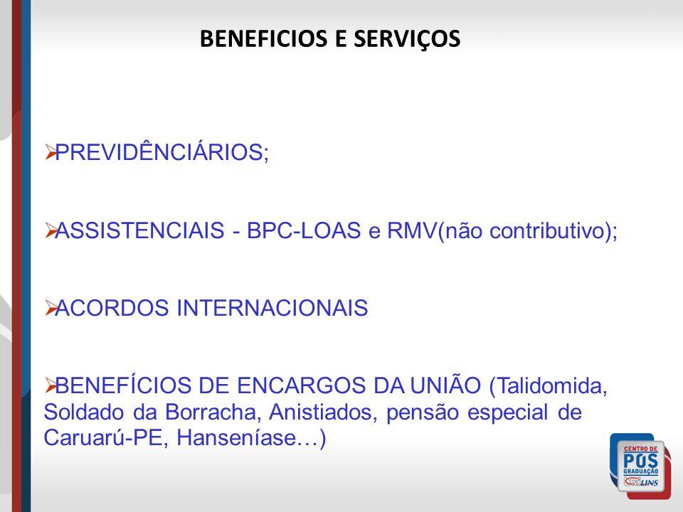 BENEFICIOS E SERVIÇOS PREVIDÊNCIÁRIOS;