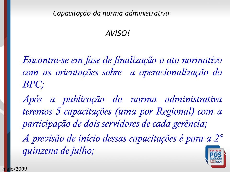 Capacitação da norma administrativa