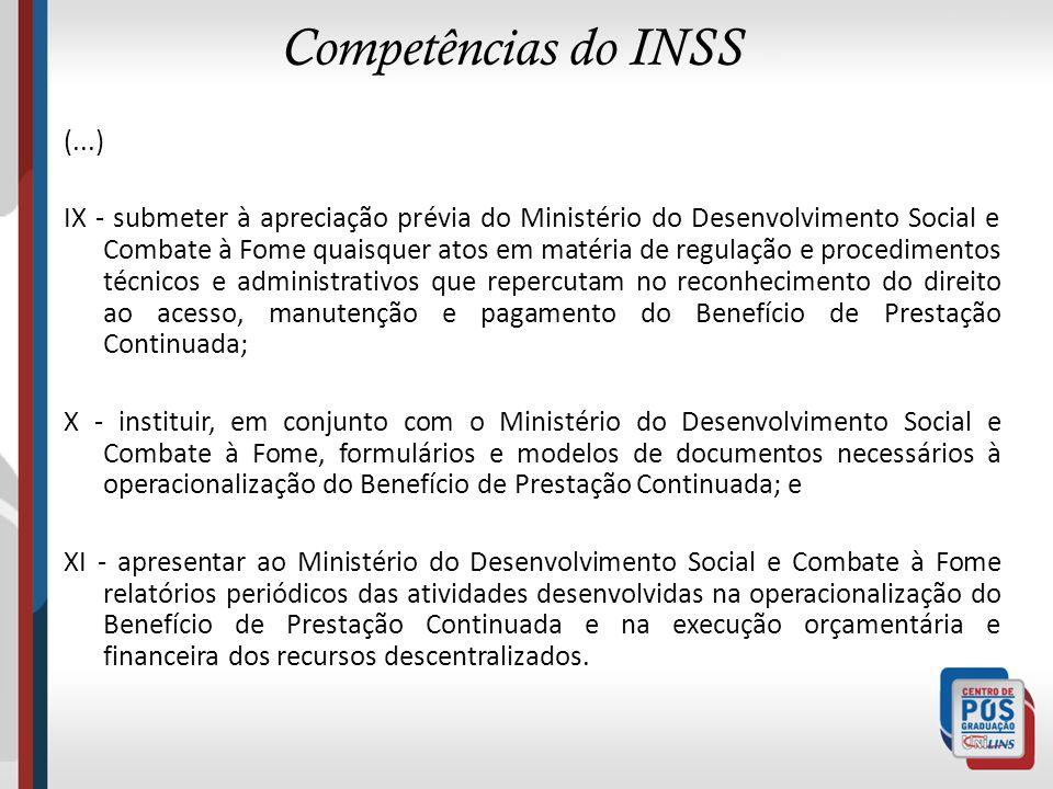 Competências do INSS (...)
