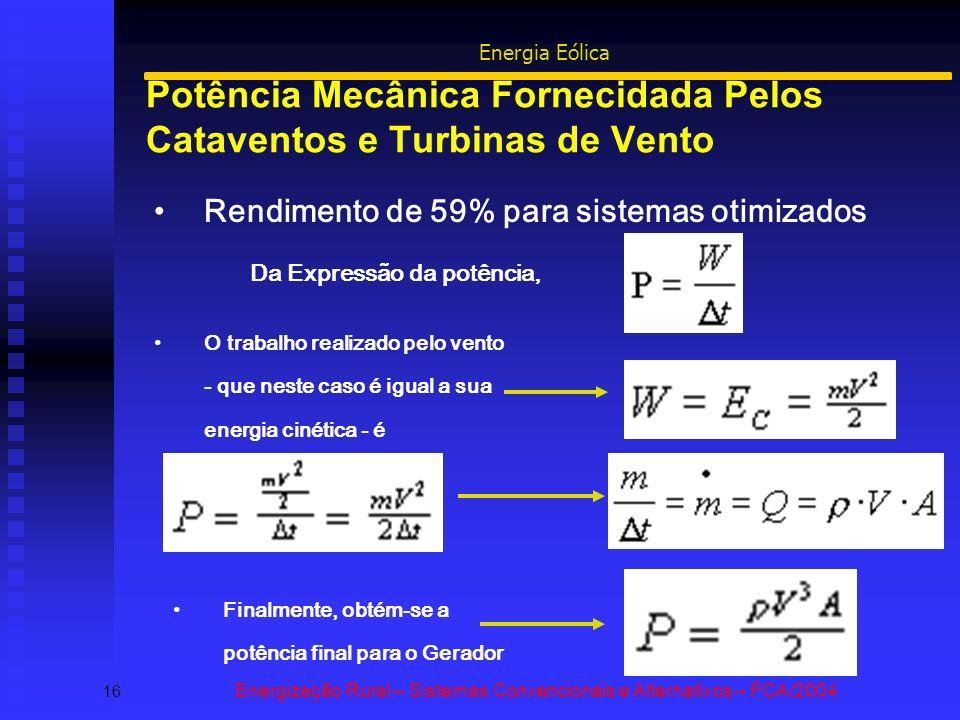 Potência Mecânica Fornecidada Pelos Cataventos e Turbinas de Vento