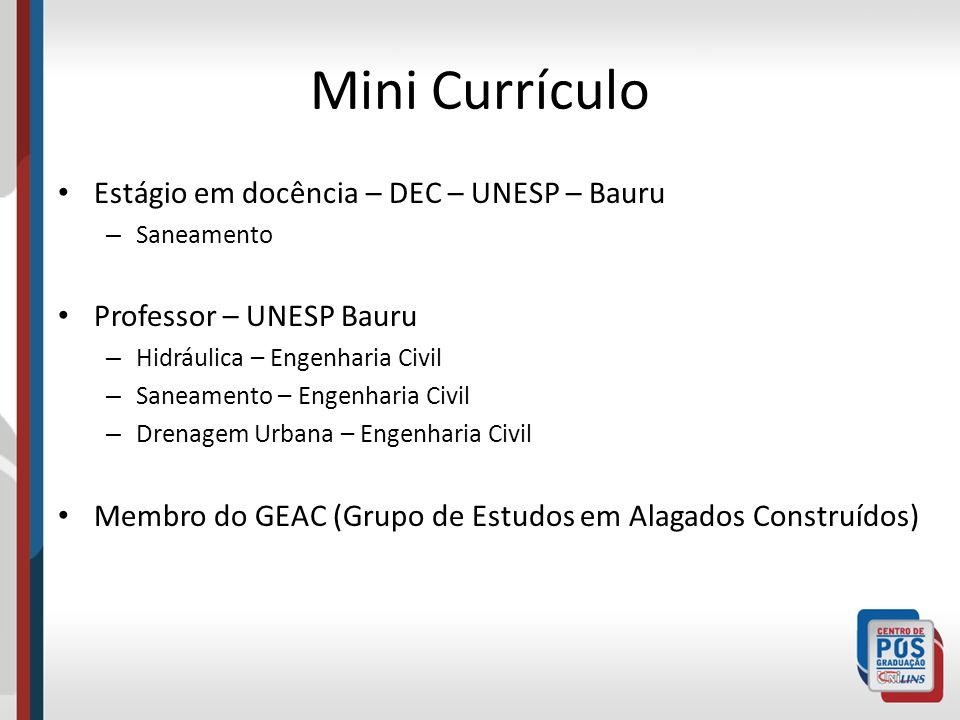 Mini Currículo Estágio em docência – DEC – UNESP – Bauru