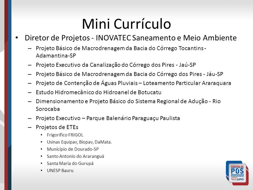 Mini Currículo Diretor de Projetos - INOVATEC Saneamento e Meio Ambiente.