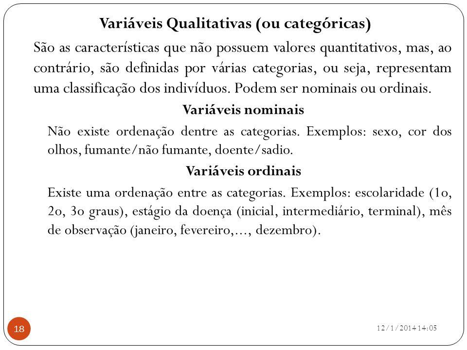 Variáveis Qualitativas (ou categóricas)