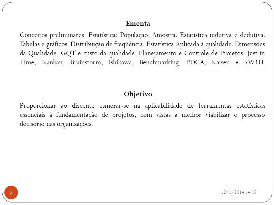 Ementa Conceitos preliminares: Estatística; População; Amostra