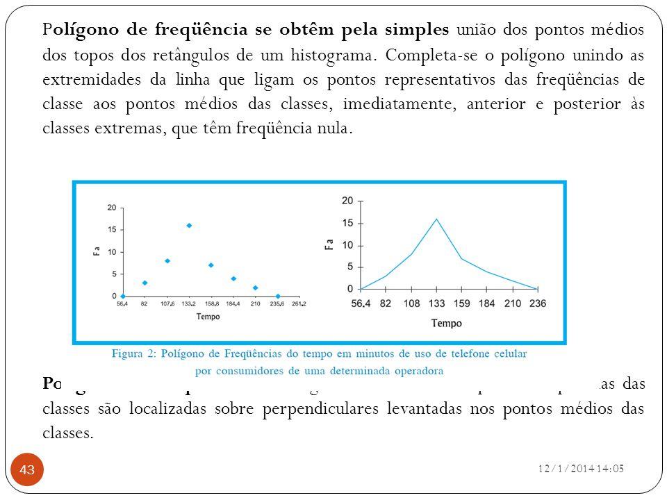 Polígono de freqüência se obtêm pela simples união dos pontos médios dos topos dos retângulos de um histograma. Completa-se o polígono unindo as extremidades da linha que ligam os pontos representativos das freqüências de classe aos pontos médios das classes, imediatamente, anterior e posterior às classes extremas, que têm freqüência nula.