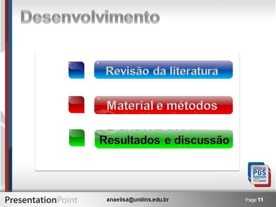 Desenvolvimento Material e métodos Revisão da literatura