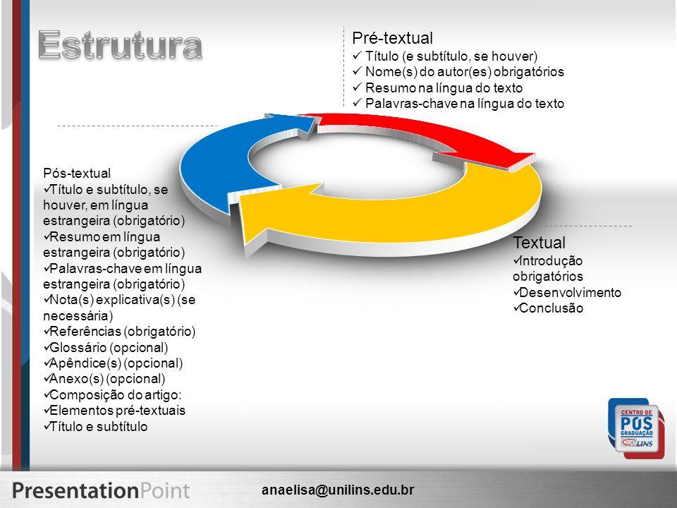 Estrutura Pré-textual Textual Título (e subtítulo, se houver)