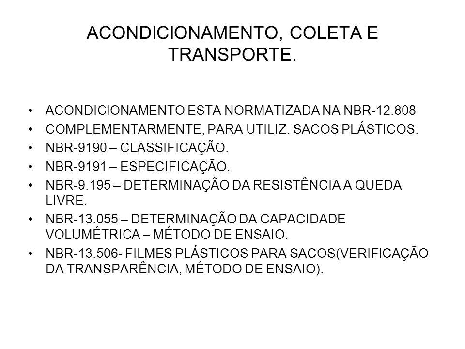 ACONDICIONAMENTO, COLETA E TRANSPORTE.